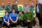 Group photo and the defibrillator at Dinton Pastures