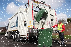 Photo of a recycling lorry in the snow
